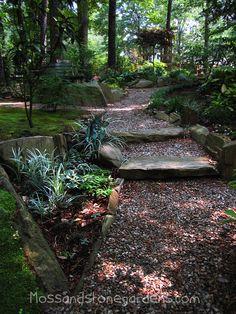 32 Landscape Ideas Wooded Backyard , Our backyard is completely gorgeous! Natura… - All For Backyard Ideas Magic Garden, Forest Garden, Woodland Garden, Dream Garden, Garden Paths, Lawn And Garden, Moss Garden, Garden Hose, Hillside Landscaping