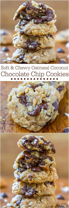 Soft Chewy Oatmeal Coconut Chocolate Chip Cookies - NO BUTTER no mixer used in these easy cookies dripping with chocolate! My favorite kind of cookies Coconut Chocolate Chip Cookies, Chocolate Chip Oatmeal, Chocolate Chips, Chocolate Smoothies, Chocolate Chocolate, Chocolate Recipes, Chocolate Shakeology, Chocolate Mouse, Chocolate Drizzle