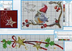 cross stich merry christmas bird