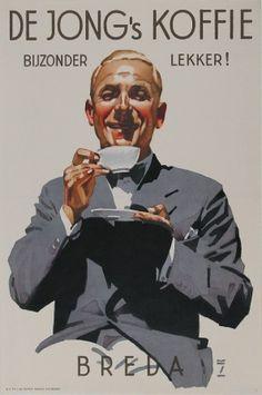 De Jong's Koffie Breda ca. 1930 - Ludwig Hohlwein (1874-1954) Het bedrijf van Thijs de Jong, een telg uit de bekende Friese familie Douwe Egberts, handelde vanaf begin 1900 in koffie, thee en tabak. In de jaren dertig liet De Jong door de zeer bekende Duitse ontwerper Ludwig Hohlwein een affiche maken met daarop afgebeeld een koffie drinkende gentleman....