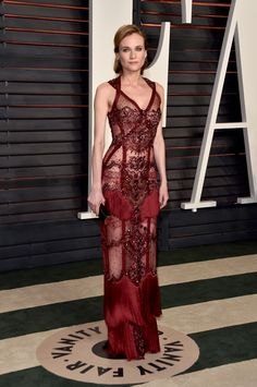 Vanity Fair Oscars After-Party 2016 On Diane Kruger: Reem Acra gown; Sylva & Cie jewels; Jimmy Choo sandals and clutch.