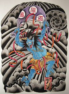 attractive-faujin-devil-japanese-tattoo-graphic-design.jpg (624×850)