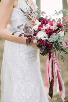 Berry hued bouquet: http://www.stylemepretty.com/little-black-book-blog/2015/01/09/enchanted-forest-bridal-inspiration/ | Photography: Retrospect Images - http://retrospectimages.com/