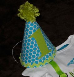 Custom Birthday Hat First Birthday Party Turquoise Teal and Lime Green 1st Birthday Outfit Toddler Baby Boy or Girl. $13.50, via Etsy.