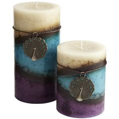 Enchanted Paradise Pillars--Beautiful pillar candles with an ornament you can use to create something special.