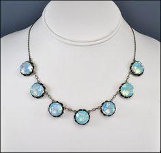Vintage Art Deco Japanese Crystal Moonstone Silver Open Back Necklace