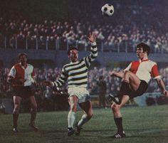 Feyenoord 2 Celtic 1 in May 1970 in Milan. Wim Van Hanegem shoots for goal in the European Cup Final.