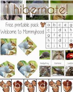 """I Hibernate"" Free Printable Pack from Welcome to Mommyhood"