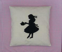 Alice  Cream & Black Alice In Wonderland Cushion by BeUniqueBaby