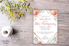 baby shower invitation. Printable PDF or Printed Cards www.etsy.com/shop/junearbordesigns #babyshower #invitation #babyshowerinvite #babyshowerinvitation #babygirl #itsagirl #floral #watercolor