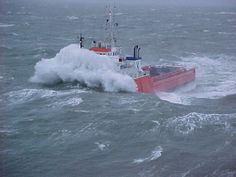 North Sea offshore service vessel, Newfoundland, Canada, A huge bow breaker wave. Big Waves, Ocean Waves, Wave Boat, Coast Guard Boats, Sea State, Rogue Wave, Big Wave Surfing, Riders On The Storm, Rough Seas