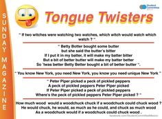 ' Tongue twisters ' SUNDAY MAGAZINE