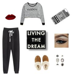 """Lazy day with bae"" by swimgurl123-1 ❤ liked on Polyvore featuring güzellik, Forever 21, UGG Australia, CellPowerCases, Dot & Bo ve Topshop"