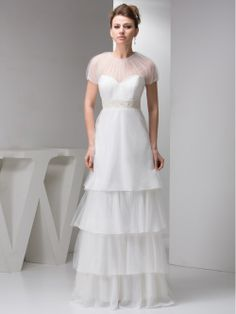 Satin and Tulle Empire Cut Wedding Dress With Layered Skirt and Beading Details