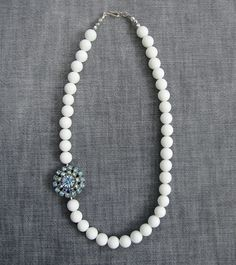 Lucy - vintage crystal rhinestone beaded necklace in white blue and silver