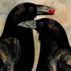 """Super FUNtastic...almost as if Corvidae is saying """"I got the Cherry""""!  """"#Crows,"""" by Guthrie Design, Salem, Oregon, USA."""