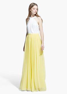 Vestido comprido bicolor | MANGO