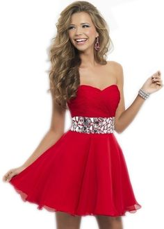 Classic Red Boat Neckline Beaded Cocktail Party Dress Homecoming Dresses,Chiffon Homecoming Dress Cheap 2016 Hot