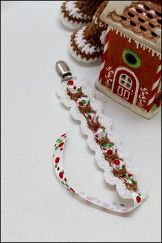 Christmas Crocheted Pacifier Paci Clip by TreasuredBabyCrochet, $7.00
