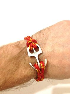 Anchor rope bracelet - mens bracelet with a silver anchor charm and a red rope - bracelet for men, gift for him, sailor beach bracelet