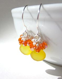 Yellow Chalcedony Earrings Sterling Silver Fill by lcatlla on Etsy, $28.00