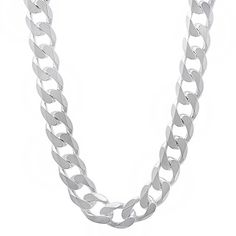 Men's 8mm Real 925 Sterling Silver Cuban Link Curb Chain Necklace, 50 cm…