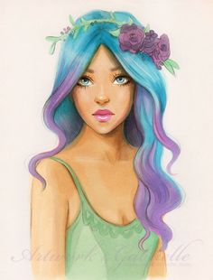 Can someone edit this to have dark brown hair with red and blonde streaks. (If you can, can you do an ombre?) Dark green eyes and a teal shirt? And the flower crown blue, red, and green? Thanks!!