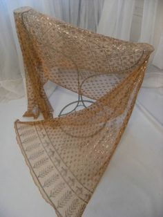 ASSUIT EGYPTIAN ANTIQUE SHAWL/ PALE ORANGE WITH SILVER METAL PATTERN