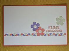 Deze eenvoudige kaart is gemaakt door Ingrid Nellen. Zij gebruikte de Gestikte Driehoekenstansen om een mooie sierrand te maken. Ieder klein driehoekje vastplakken zal wel wat tijd hebben gekost! Daarboven stempelde ze met Volop Vrienden de spreuk en kleedde het verder aan met wat uitgeponsde Small Blooms bloemetjes met White Perfect Accents als hartje. Alles is gemat op een Calypso Coral kaartbasis.