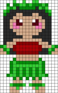 Lilo In Hula Outfit Perler Bead Pattern Pixel Art Vaiana