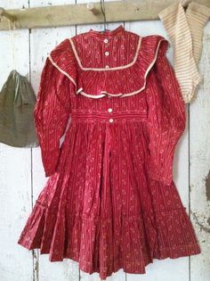 May Up~Date : Mid 19Th C Early Red & White Calico Dress.. Lots of detail.