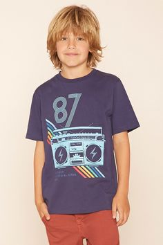 """Forever 21 Boys - A knit tee featuring a stereo graphic with """"My First Ghetto…"""