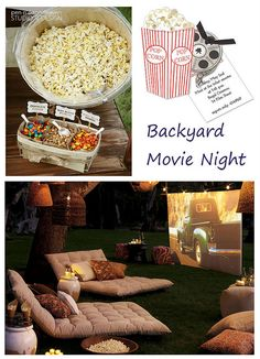 backyard-movie-night-under-the-stars . I want to do a slide show of Alex growing up for his graduation party. Outdoors of course.