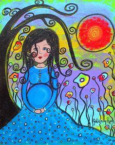 Anticipation by Juli Cady Ryan Pregnancy Art, Mother And Child, Beautiful Artwork, Folk Art, Fantasy Art, Whimsical, Disney Characters, Fictional Characters, Aurora Sleeping Beauty