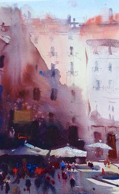 Alvaro Castagnet, Costa Brava, Spain Paintings I Love, Beautiful Paintings, Watercolor Artists, Watercolour Painting, Watercolor Architecture, Landscape Illustration, Elements Of Art, Cityscapes, Watercolours