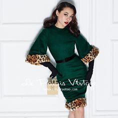 759f1f496e9 Online Shop le palais vintage green wool wiggle pencil dress with leopard  patch flare sleeve plus size vestidos pinup dresses