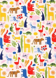 white heavy oxford animal fabric Alexander Henry Home Decor