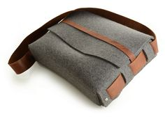 Felt Survivor Satchel, Dark Heathered Grey - Rustico Leather - $212.50