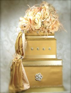 Pink and Gold card box for wedding