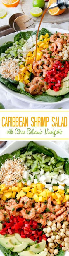 Caribbean Shrimp (or chicken) Salad with sweet, tangy Citrus Balsamic Vinaigrette packed with tropical fruit, sweet coconut, roasted macadamia nuts and Island marinated shrimp.