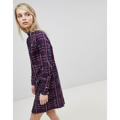 Fred Perry Tartan Check Shirt Dress ($155) ❤ liked on Polyvore featuring dresses, multi, tee shirt dress, shirt dress, long plaid shirt dress, checkered shirt dress and mod dress