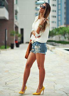 Shorts Jeans e Salto Salto