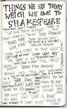 """""""Things we say today which we owe to Shakespeare"""""""