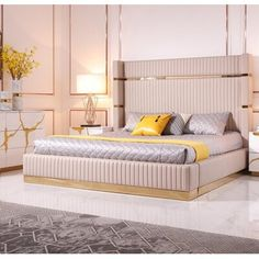 Enjoy exclusive for Limari Home Mecatti Collection Modern Style Bedroom Bonded Leather Upholstered Bed With Tall Headboard & Stainless Steel Accents, Eastern King, Beige & Champagne Gold online - Toplikeclothes Luxury Bedroom Design, Bedroom Bed Design, Bedroom Furniture Design, Home Furniture, Bedroom Decor, Bed Headboard Design, Gold Bedroom, Upholstered Platform Bed, Upholstered Beds