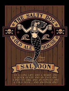 """The Salty Dog Metal Sign: Pirate Decor Wall Accent by OMSC. $19.50. Glossy, full-color, enamalized imaged baked onto thick, 24-gauge steel. This sign measures 16"""" x 12"""" (400 mm x 300 mm). Eco-friendly process, hand-made in the USA. Ships in Ploy-bag for complete protection. Rounded corners with holes for easy hanging. The """"The Salty Dog Metal Sign"""" is hand-made in America. These sturdy metal signs will perfectly accent any kitchen, home, bar, pub, game room, o..."""