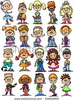 cartoon drawings of children, students by Virinaflora, via Shutterstock