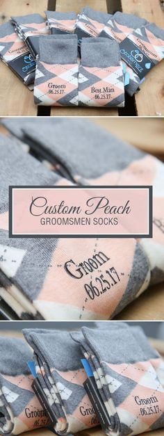 Looking for a way to customize your peach and gray wedding? We are now customizing our most popular wedding colors with wedding dates, wedding text and monograms. Give your groomsmen in your wedding a gift they will never forget that will always remind them of your big wedding day: custom peach groomsmen socks. Shop these peach and gray custom monogram socks and more.