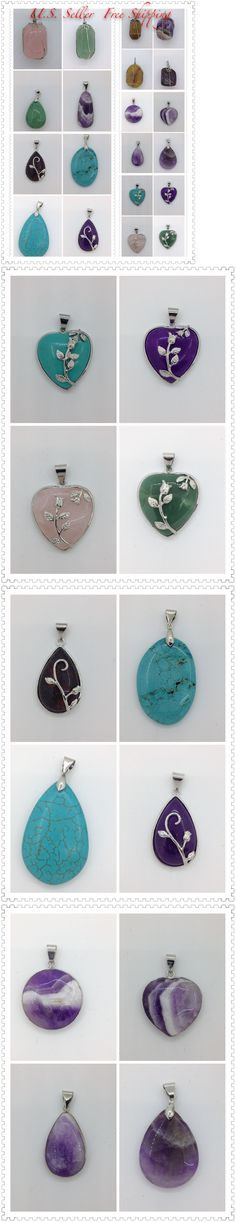 Pendants and Lockets 45079: Wholesale Lot Of 20 Semi Precious Gemstone Pendant Jade Turquoise Howlie And More BUY IT NOW ONLY: $48.0