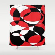 Black, white and red ellipticals Shower Curtain by Celeste@khoncepts.com $68.00. See matching toothbrush holder set #bathroom #homedecor