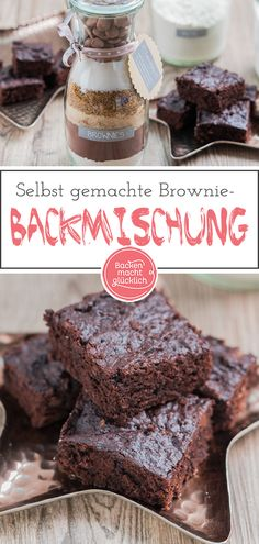 Backmischung im Glas für BrowniesThis brownie baking mix in the glass was definitely missing in my collection of gifts from the kitchen! Not only that the homemade baking mix for brownies is extremely easy and quick to put together - the brownies fr Happy Brownies, Banana Brownies, Chewy Brownies, Healthy Brownies, Vegan Brownie, Brownie Desserts, No Bake Brownies, Homemade Brownies, Best Brownies